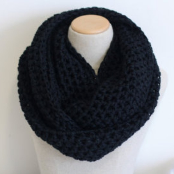 Accessories Black Infinity Open Knit Scarf Poshmark